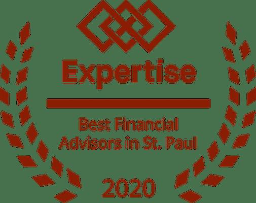 "laurels surrounding an award reading ""best financial advisors in St. Paul 2020"""
