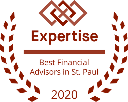 "laurels surrounding an award reading ""best financial advisors in St. Paul 2020"""