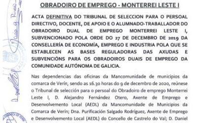 Acta definitiva do tribunal de selección para o persoal do obradoiro de emprego Monterrei-Leste I