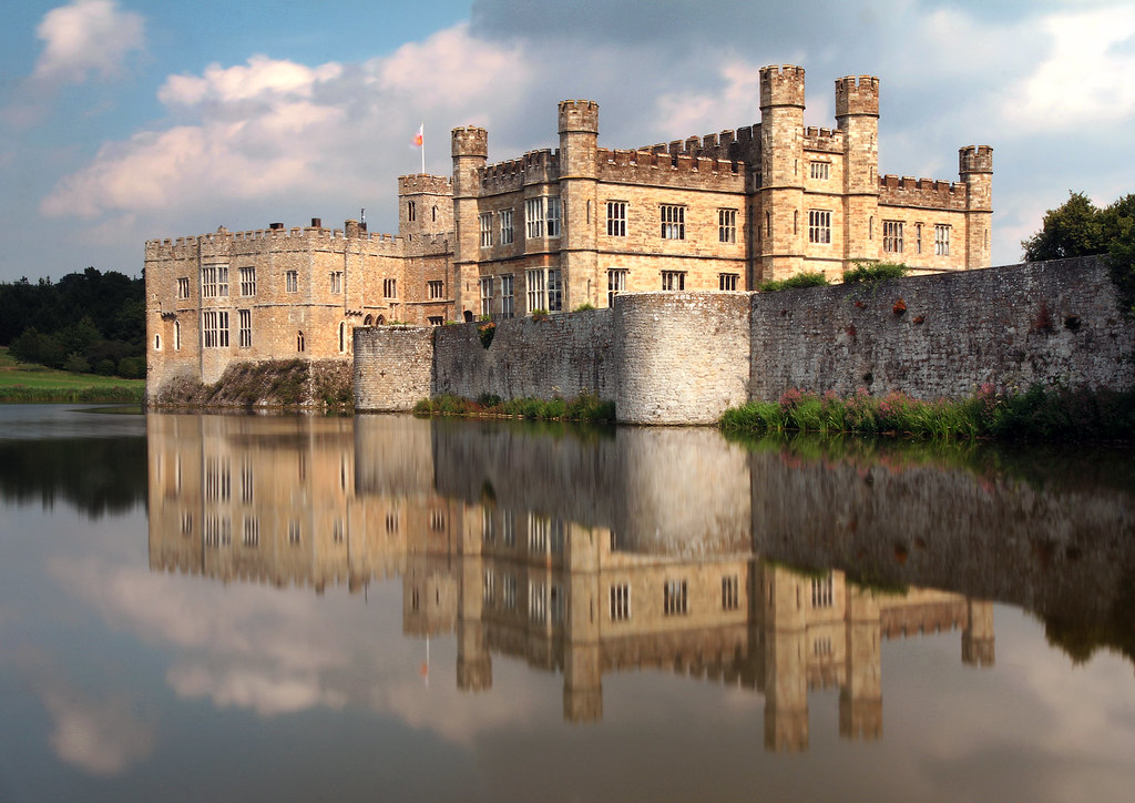 The reflection of Leeds Castle on the water