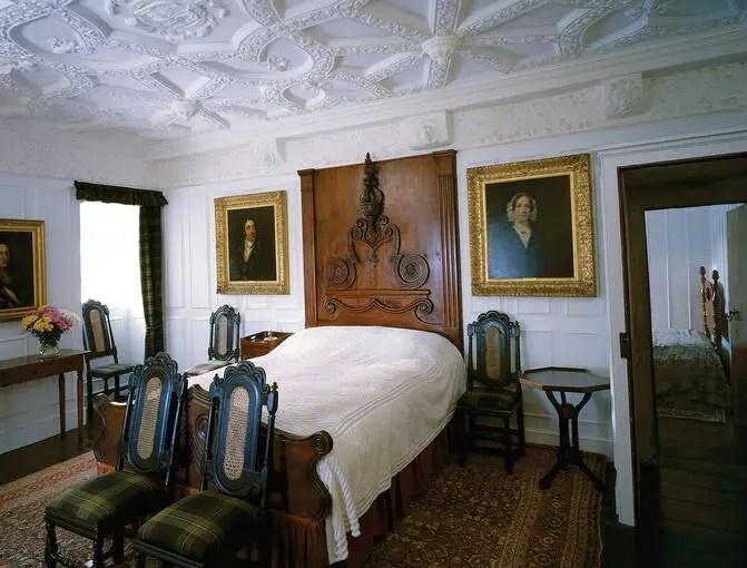 A bedroom inside Craigievar Castle