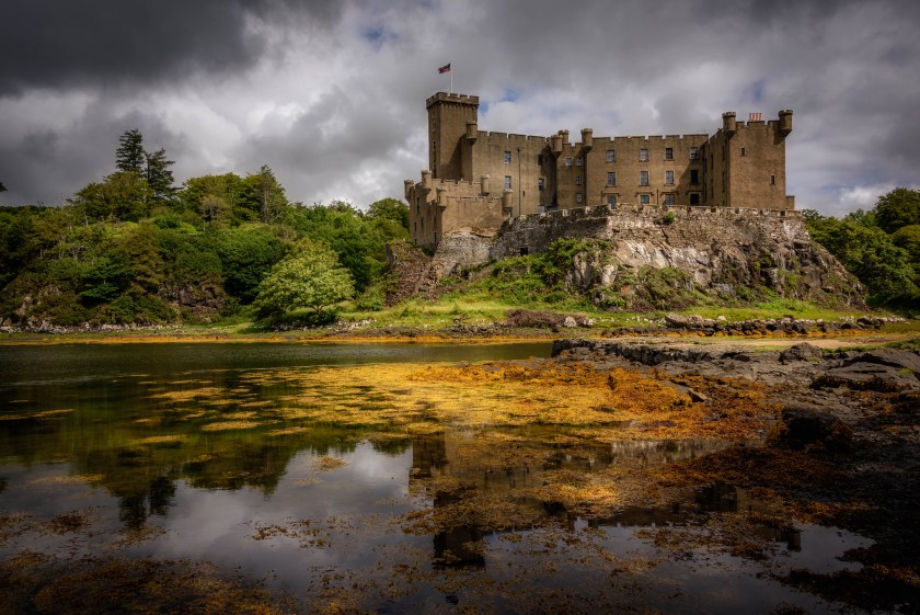 Dunvegan Castle sits upon a natural rock formation