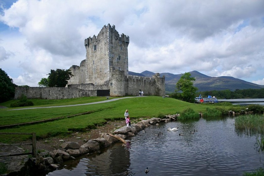 Ross Castle with mountains in the background