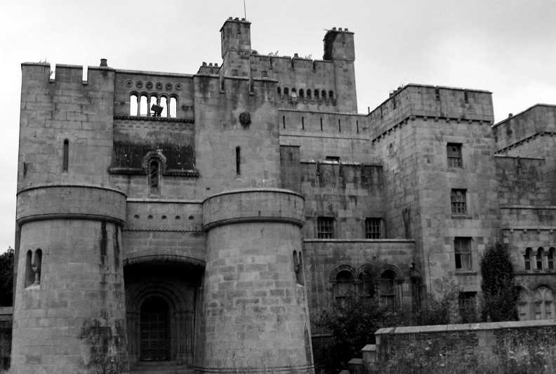 Black and white image of Gosford Castle