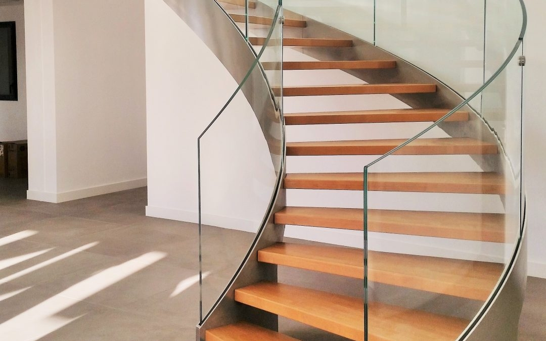 Helika Lux Helicoidal Staircase Wooden Step Railing With Curved | Stair Railing Glass Panel | Tempered Glass | Wood | Stainless Steel Railing Systems | Base Shoe | Aluminum