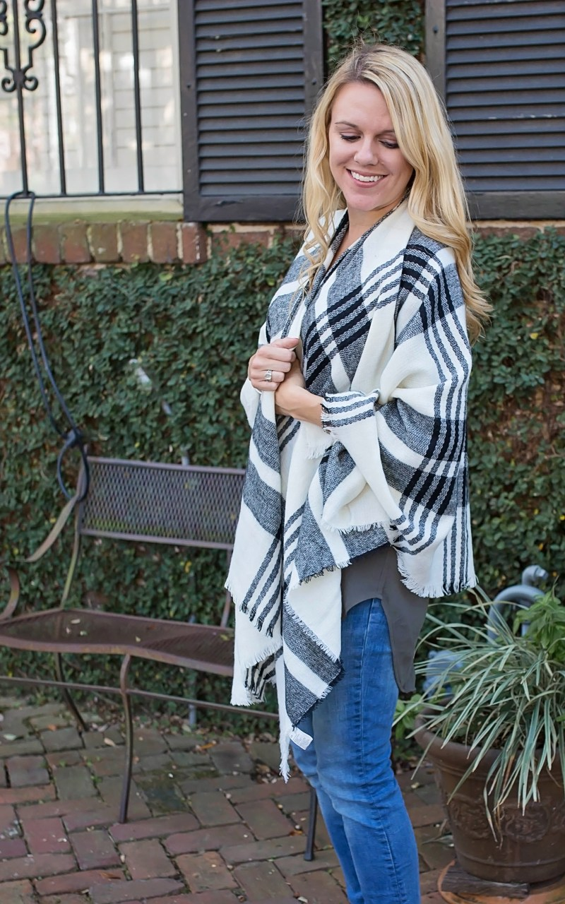 Cutest plaid poncho pullover for fall and winter from nordstrom