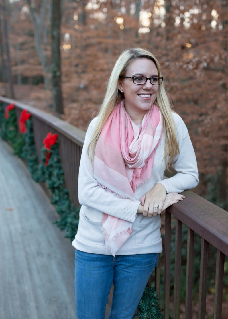 Cold weather outfit scarf and glasses