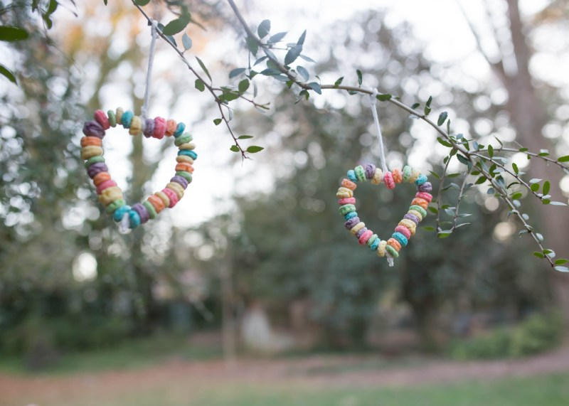 Valentine's Day easy craft cereal heart bird feeders