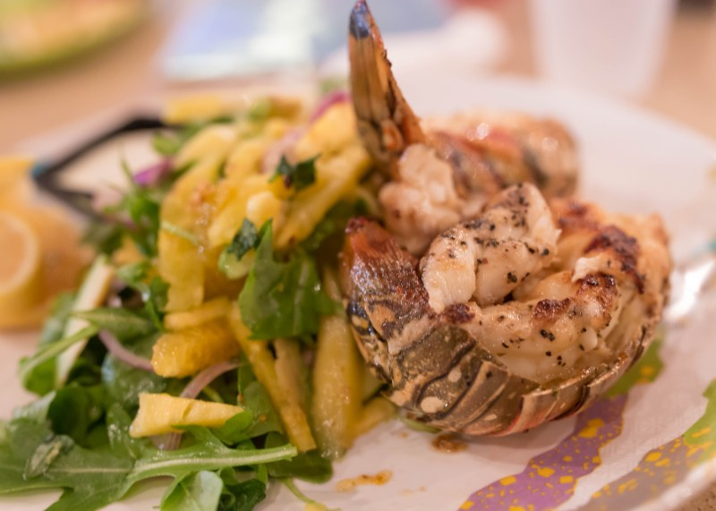 lobster at oceanside cafe turks & caicos