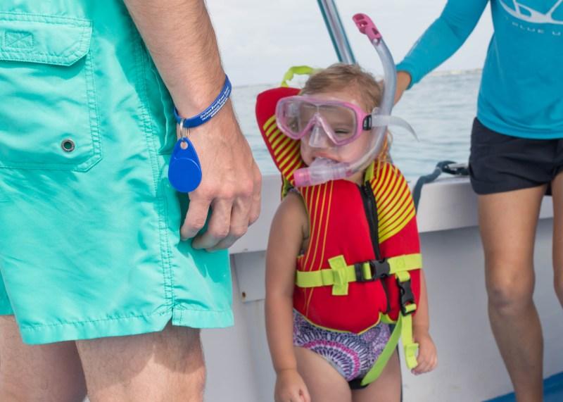 toddler in scuba gear