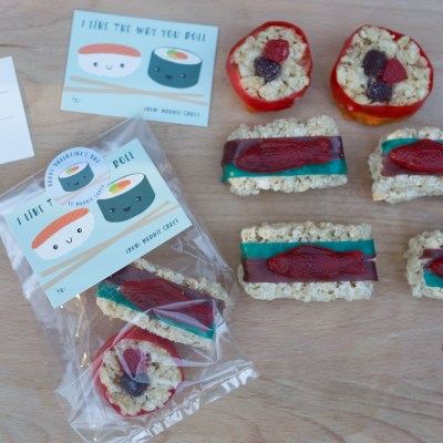 The Cutest Valentines Candy Idea: Candy Sushi Valentines