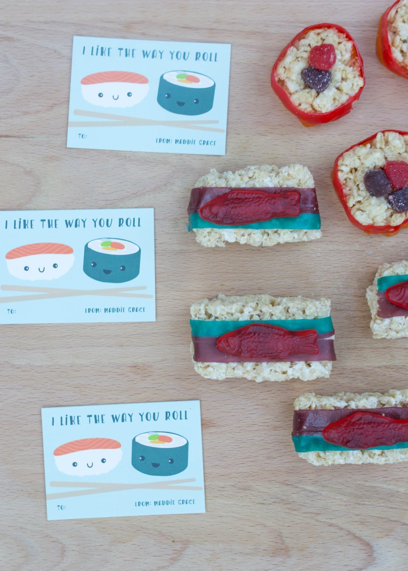 valentines candy idea: candy sushi valentines