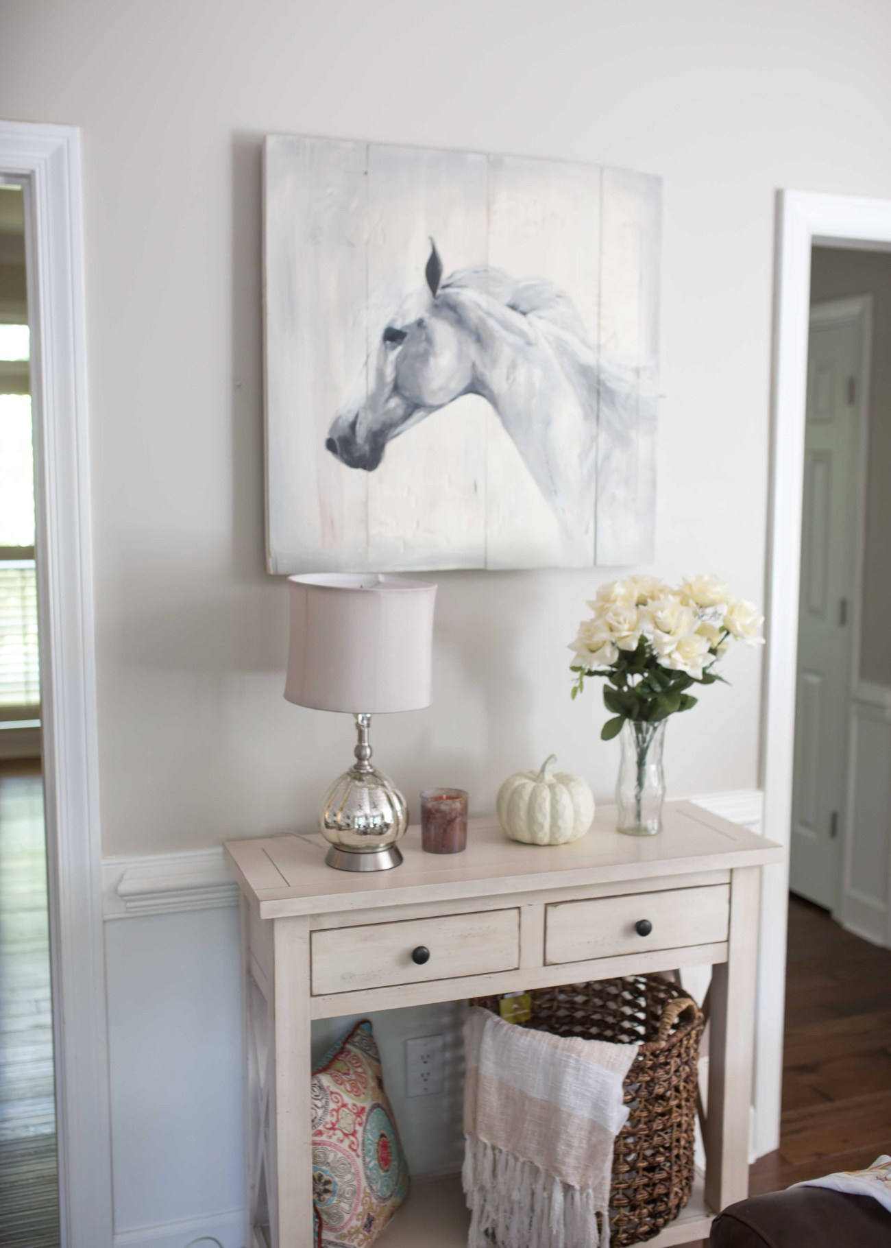 reclaimed wood horse painting