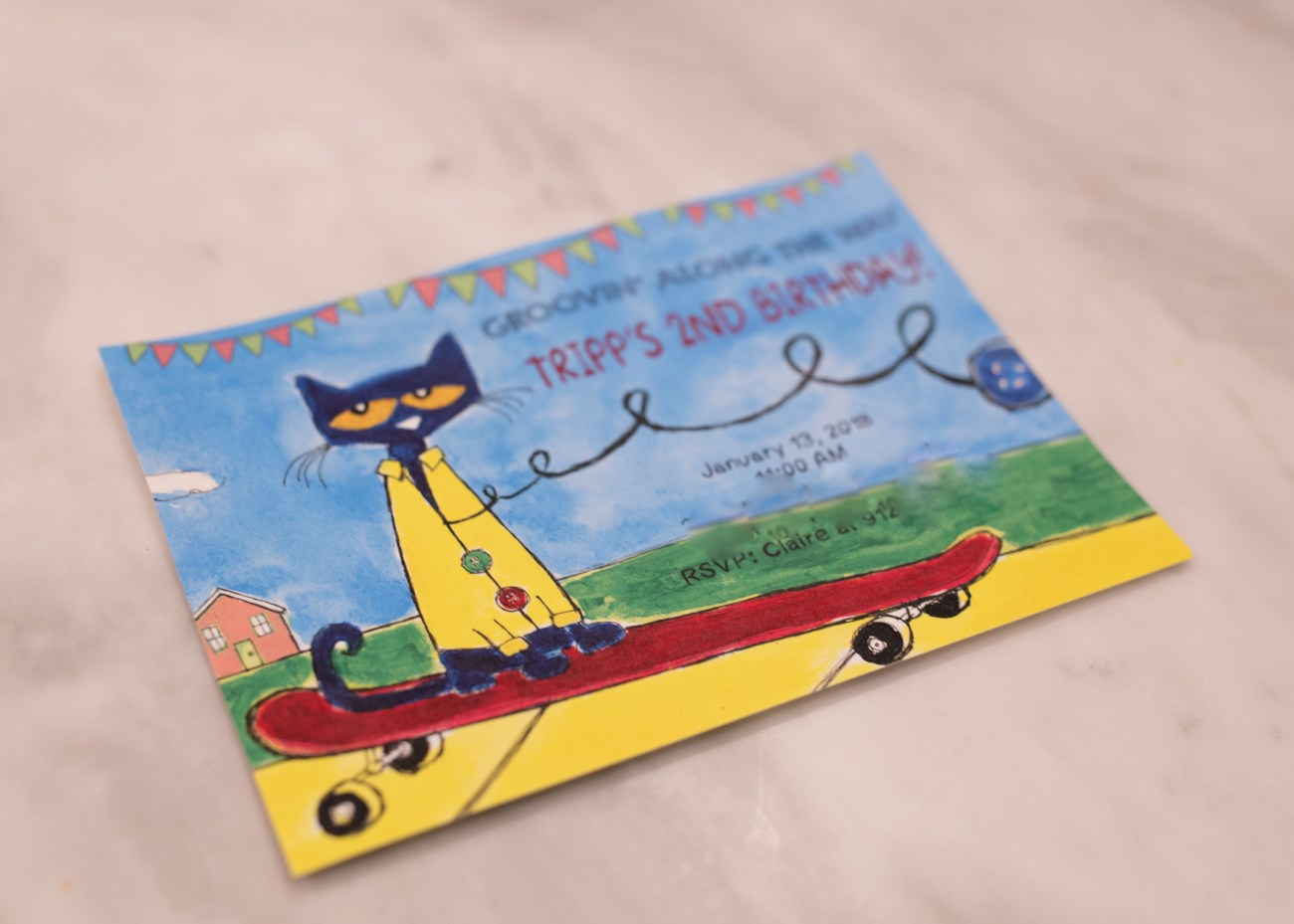 Pete the cat birthday party invitation