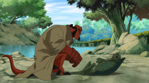 Hellboy-Getting Informed From A Fallen Foe!