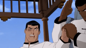 Bruce Wayne-Caught In Ben's Karate Chopping Path!