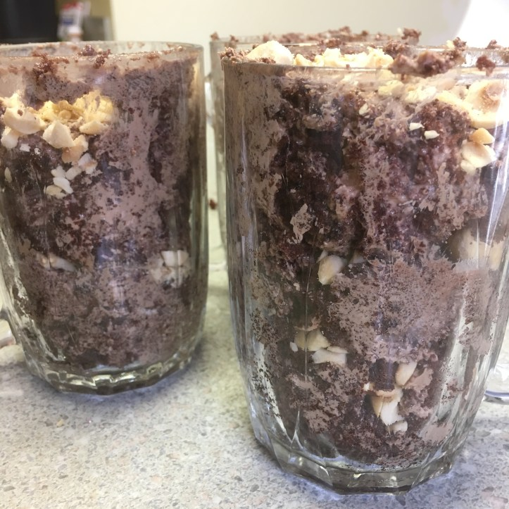 Parfaits made of the cake scraps, leftover buttercream, and extra hazelnuts