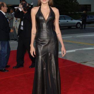 Red Carpet Attire of Angelina Jolie Original Leather Maxi