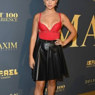 Sexy Leather Skirt of Kira Kosarin