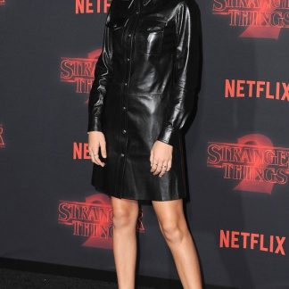 Millie Bobby Brown Leather Skirt