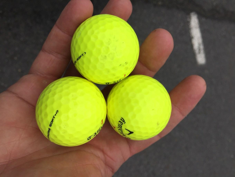 Golf balls at finish.
