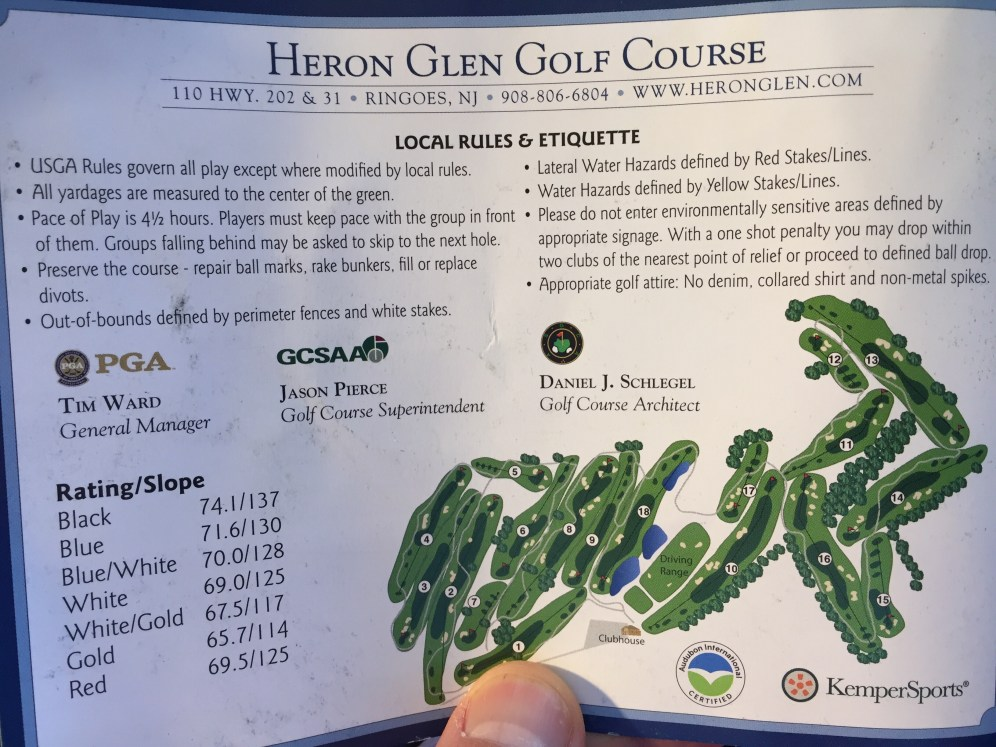 Heron Glen scorecard back page has local rules, course layout, and with Rating/Slope numbers.