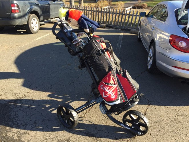 Clicgear 3.5+ push cart with clubs