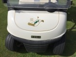 Front of golf cart with Architects Golf Club logo.