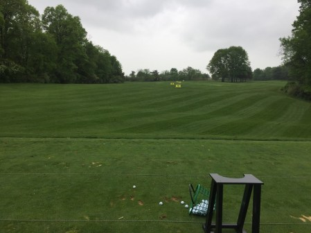 Driving range which even slopes up hill to prepare for Fox Hollow's sloping fairways.