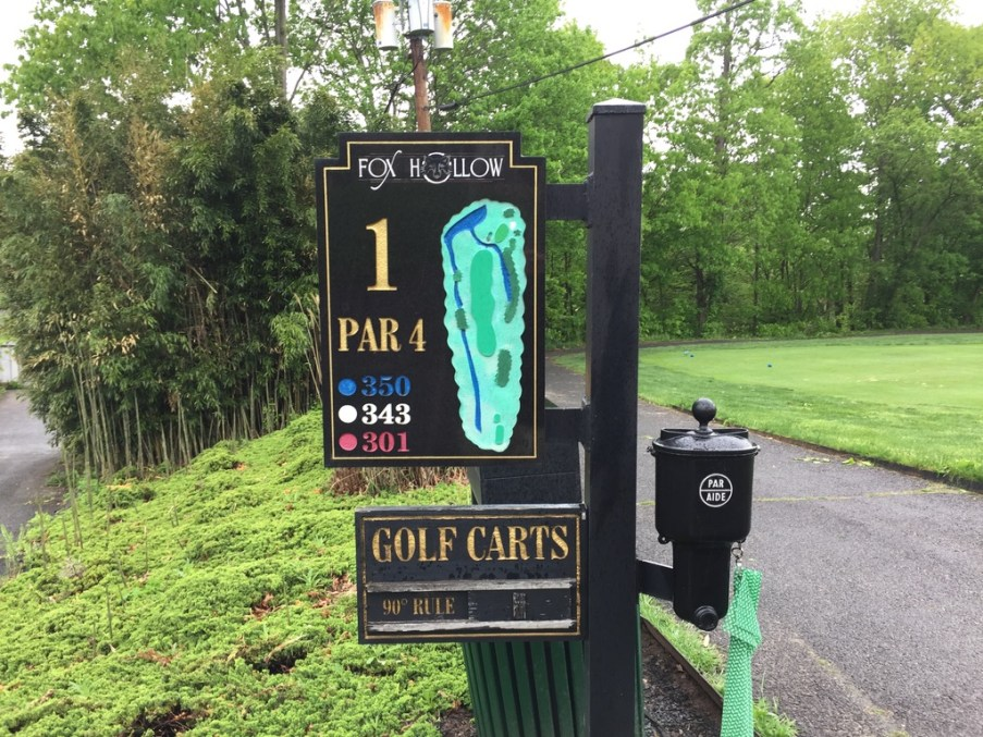 Hole signage for Fox Hollow Golf Club. A side view showing slope would be useful.