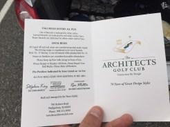 Cover of Architects Golf Club scorecard.