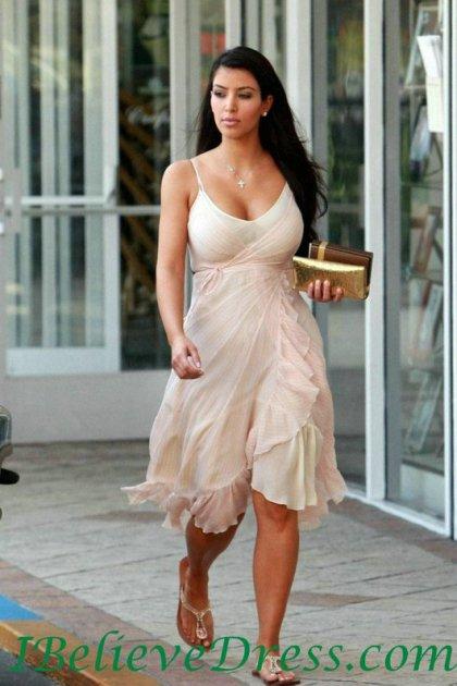 Gorgeous Chiffon Spaghetti Kim Kardashian Party Casual Dress Knee Length