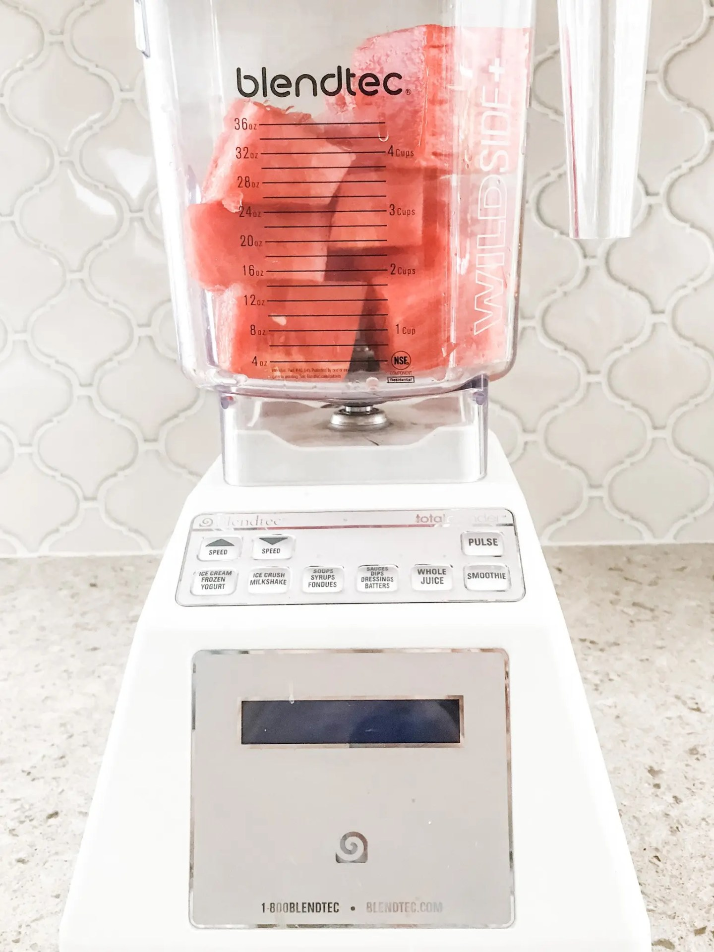 Toss your chilled seedless watermelon into the blender