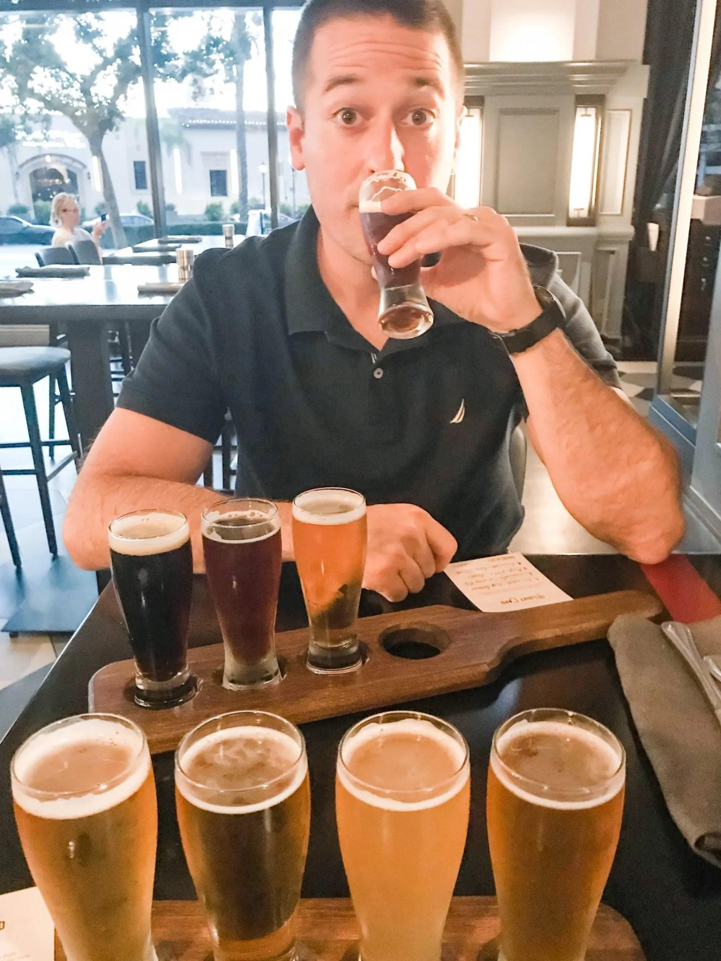 Beer flights at Brew 30, San Diego