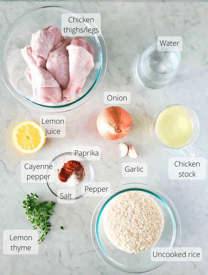 Ingredients for oven baked chicken and rice