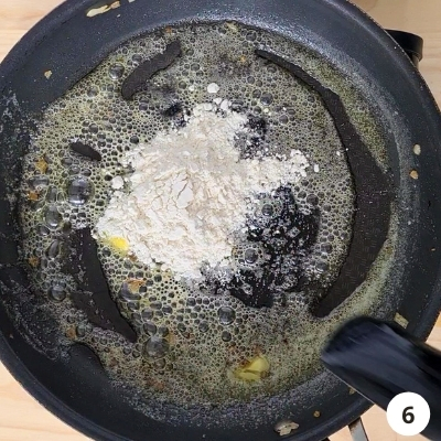 flour added into melted butter