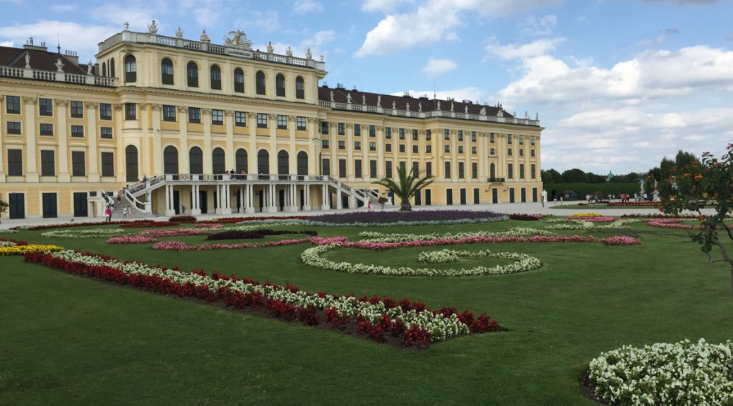 Schonbrunn palace from the garden great parterre side
