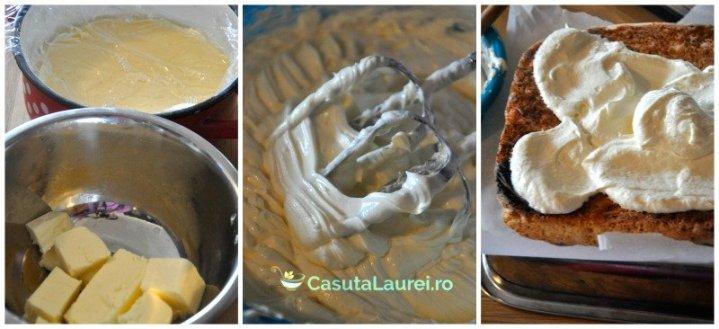 asamblarea prajiturii cu blat de nuca de cocos si crema de vanilie