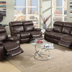 Espresso Bonded Leather Reclining Sofa Loveseat Set Fake Cleaning Living W Recliner F6719
