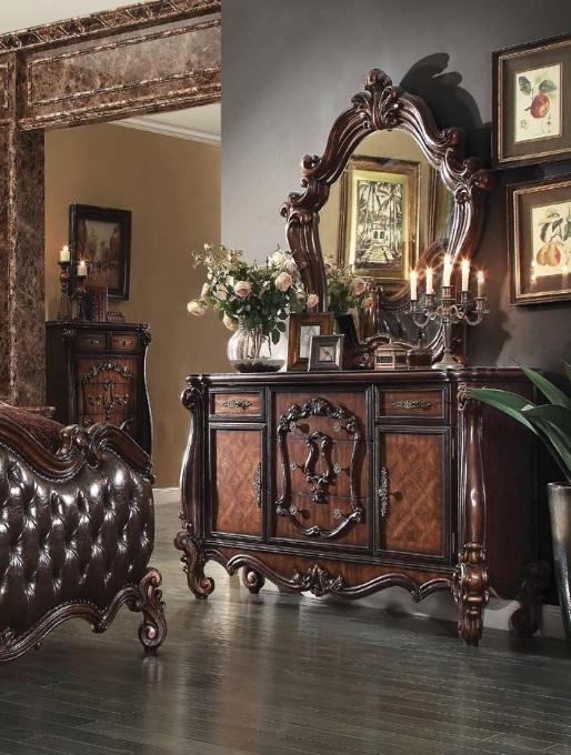 bedroom set versailles collection cherry oak finish