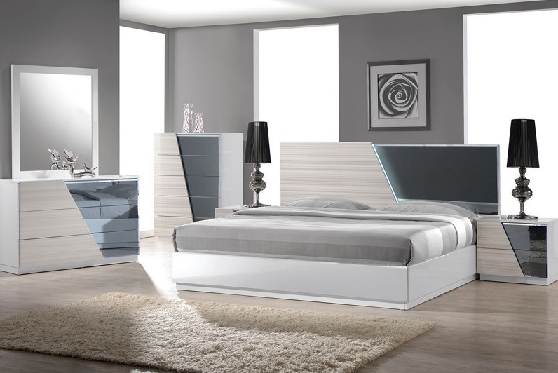 Manchester Zebra Gray with White Lacquer Bedroom Collection  Casye FurnitureCasye Furniture