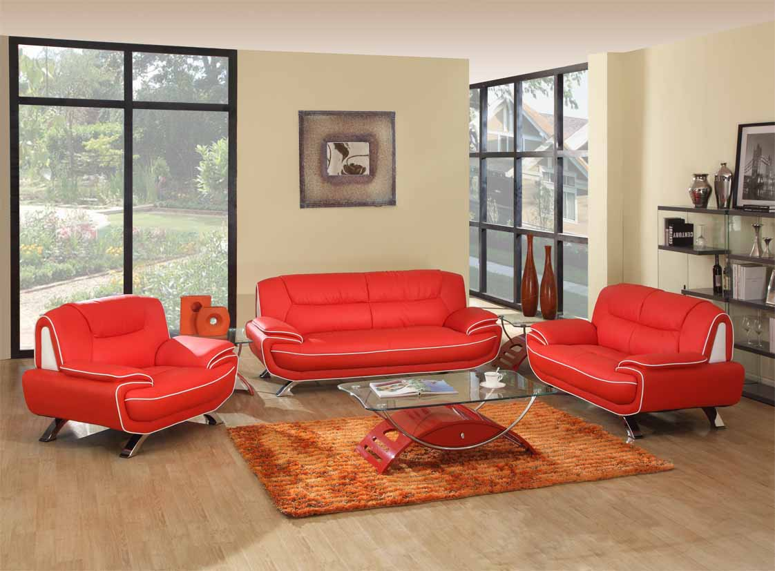 Red Living Room Chair Red White Genuine Leather Living Room Gu405