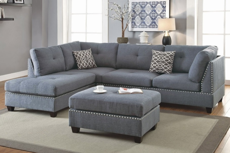 3Piece Sectional Sofa with Ottoman Blue Grey Color F6975