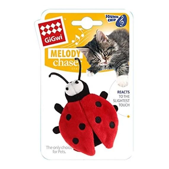 juguete para gatos 7252 gigwi melody cat toy mariquita con sonido