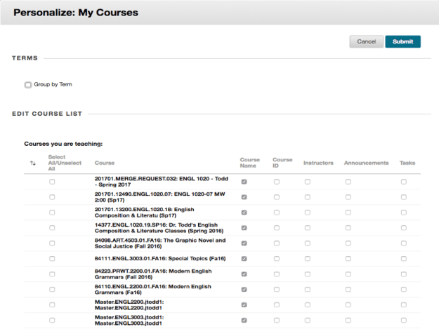 This is a screen shot of the Personalize: My Courses page in Blackboard.