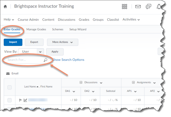Manage Grades tab with Search For field identified
