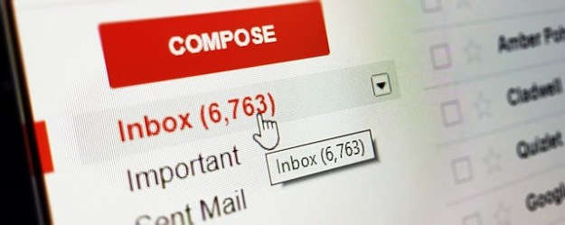 email inbox with 6763 new messages