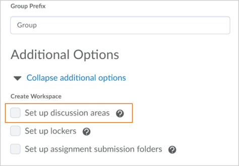 Setup discussions area option