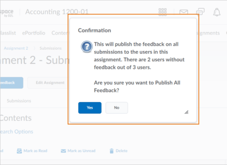 Example of Publish All Feedback option