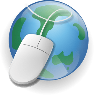 globe with oversized computer mouse draped over it